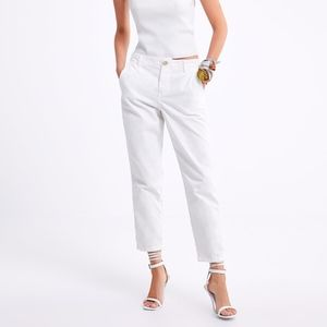 ZARA ZW PREMIUM NEW WHITE CROP CHINO JEANS